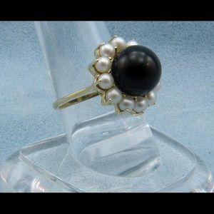 Black Onyx Pearl Ring